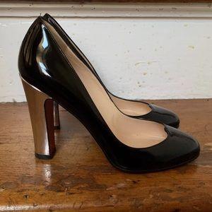 Christian Louboutin black silver heel pump